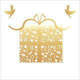 50th cartão dourado do presente do aniversário de casamento Fotografia de Stock