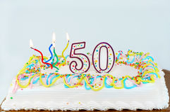 50th födelsedagcake Arkivbilder