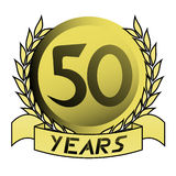 50th gold emblem. Creative design of 50th gold emblem Royalty Free Stock Image