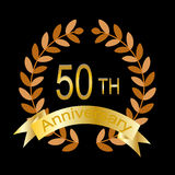 50th or golden anniversary (eps8 included). 50th or golden anniversary of a marriage or business vector illustration