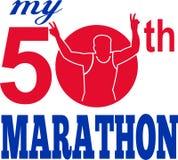 50th löpare för maratonracekörning Arkivbilder