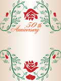 50th wedding anniversary border. A 50th wedding anniversary border with copyspace, text, roses, leafs and beautiful hearts royalty free illustration