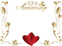 50th wedding anniversary border. A 50th wedding anniversary border with copyspace, text and beautiful hearts and a dove Royalty Free Stock Photo