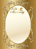 50th wedding anniversary border. A 50th wedding anniversary border with copyspace, text and beautiful hearts Stock Photo