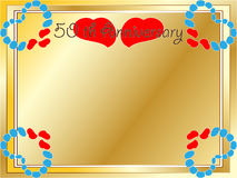 50th wedding anniversary card. A 50th wedding anniversary card with copyspace, text and beautiful hearts Royalty Free Stock Photo