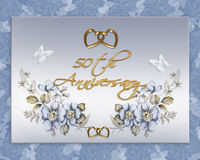 50th wedding anniversary card. Image and illustration composition for 50th wedding anniversary card or invitation with blue floral design, gold hearts and soft Royalty Free Stock Photography