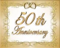 50th Wedding Anniversary Card. 3D Illustrated  design for 50th wedding Anniversary card or invitation Royalty Free Stock Photo