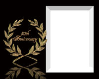 50th Wedding Anniversary invitation. 3D Illustrated elegant design for formal 50th wedding Anniversary card, background, template, frame  or invitation on black Royalty Free Stock Photography