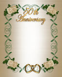 50th Wedding Anniversary Invitation. Border design element for wedding anniversary invitation background, border or frame with off white satin and roses, copy Stock Photography