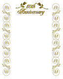 50th Wedding Anniversary invitation. Image and Illustration composition for 50th Wedding anniversary invitation, background, card or border with gold ornamental stock illustration