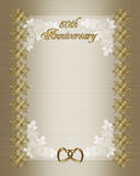 50th Wedding anniversary invitation template. 50th wedding anniversary elegant formal invitation template, background, border with gold text and ornamental Royalty Free Stock Image