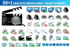 51 икона реалистическая Стоковые Фотографии RF