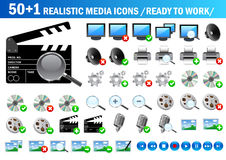 51 realistic icons. Set of realistic media icons for you web design royalty free illustration