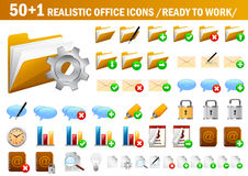 51 realistic icons. Set of realistic office icons for you web design Stock Photos