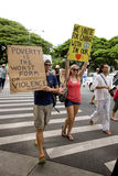 51 upptar anti apec honolulu protest Arkivfoto