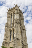52 m Saint-Jacques Tower on Rivoli street. Paris. Stock Images