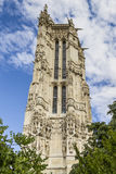 52 m Saint-Jacques Tower on Rivoli street. Paris. Stock Photography