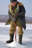 53钓鱼的冬天 图库摄影