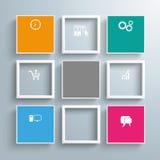 5个色的正方形4框架模板 免版税库存照片