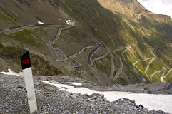54 bends to Stelvio Royalty Free Stock Photos