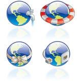 54c设计要素被设置的地球图标 免版税库存照片