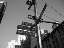 54th street and broadway corner signs nyc stock photography