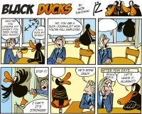 55只黑色漫画鸭子情节 图库摄影