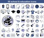55 education icons. In blue and black colors Royalty Free Stock Images