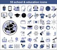 55 iconos de la educación Imágenes de archivo libres de regalías