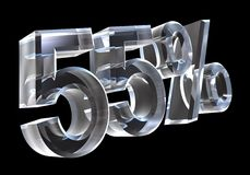 55 percent in glass (3D). 55 percent in glass (3D made Stock Photo
