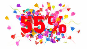 55 percent off. On white isolated background full with colored petals royalty free illustration
