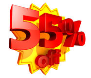 55 percent price off discount Stock Photo