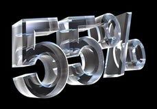 55 por cento no vidro (3D) Foto de Stock