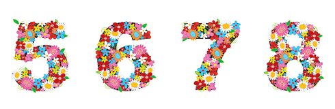 5678 wiosny kwitną numery ilustracji