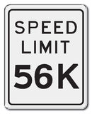 56K. Speed Limit Sign 56K Stock Photography