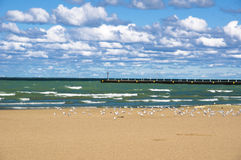 57th Street Beach (Chicago). 57th Street Beach is one of the beaches located on the shores of lake Michigan (Chicago, Illinois Stock Photo