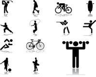 58个图标被设置的体育运动 免版税库存图片