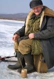 58钓鱼的冬天 图库摄影
