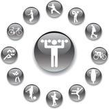 58 спорт установленный кнопками Стоковое Изображение