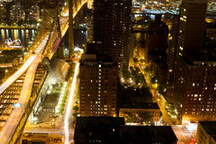 59th Street Bridge from Manhattan. Looking East to Queens from Manhattan at night via time exposure shot Royalty Free Stock Image