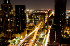 59th Street Bridge at Night. Looking east into Queens from 59th Street & 2nd Avenue in Manhattan stock photo