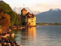 5座城堡chillon瑞士 免版税库存照片