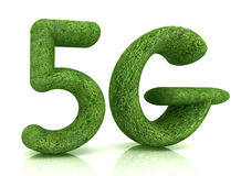 5g modern internet network. 3d text of grass Royalty Free Stock Photo
