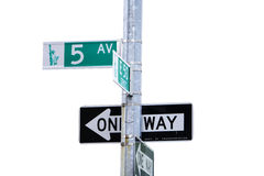 5th Avenue. Sign in New York isolated with clipping path Royalty Free Stock Images