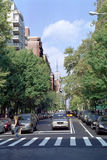 5th Avenue New York USA. Looking North up 5th Avenue from 4th Street at Washington Square, New York City. The Empire State Building is seen further up at 34th Royalty Free Stock Image