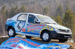 The 5th Baikal Fishing. UST-BARGUZIN, RUSSIA - APRIL 10: The main prize of the 5th Annual Baikal Fishing - a Renault car, April 10, 2009 in Ust-Barguzin Royalty Free Stock Photos