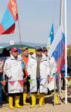 The 5th Baikal Fishing. UST-BARGUZIN, RUSSIA - APRIL 10: A team representing Mongolia takes part in the 5th Annual Baikal Fishing, April 10, 2009 in Ust-Barguzin Royalty Free Stock Photo