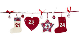 5th part of advent calendar. #21 - #24 fifth part of advent calendar isolated on white background Royalty Free Stock Images