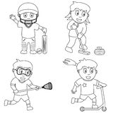 6个上色孩子体育运动 库存照片