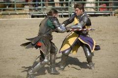 6个争斗faire骑士乐趣新生 免版税图库摄影